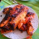 cognac-cured lemon salmon, grilled outside!