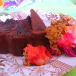 my dessert plate with 2 kinds of chocolate cake and sour cherry/pear pie