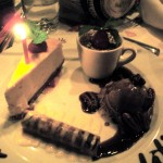 My congratulations/Anniversary dessert plate. Cheesecake, creme brulee, rum gelato, and a dark chocolate cigar thing